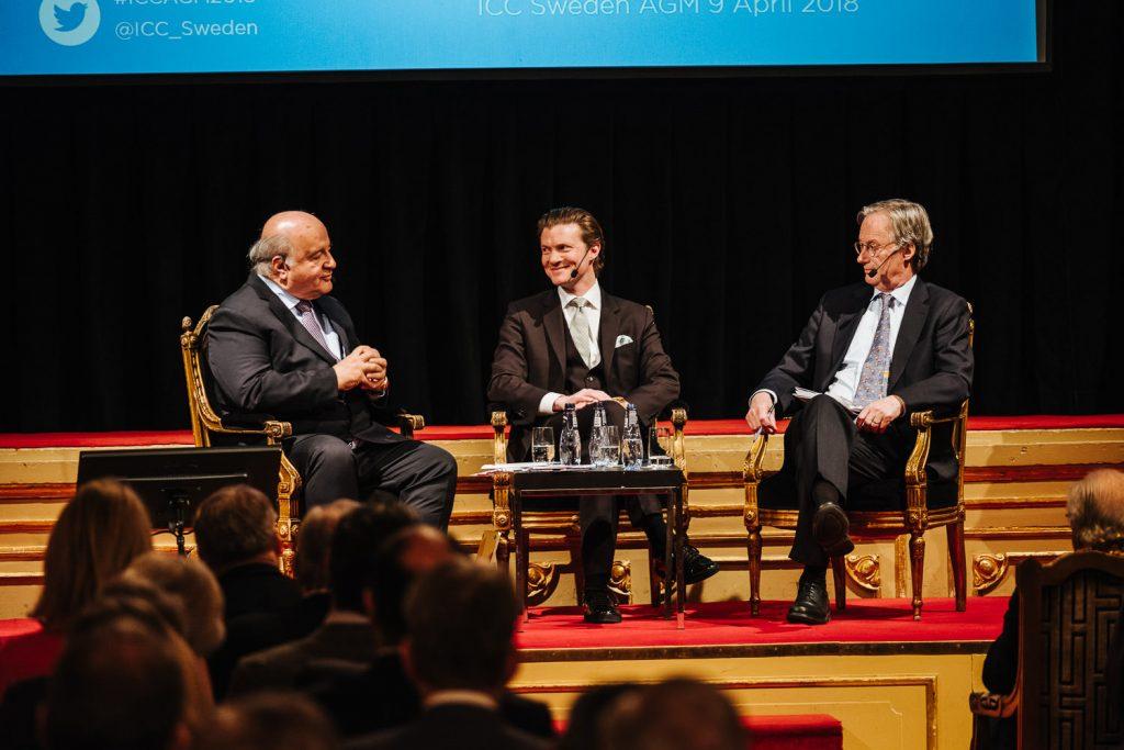 Hernando de Soto, Johan Norberg och Pontus Braunerhjelm vid ICCs årsmöte på Grand Hôtel, april 2018