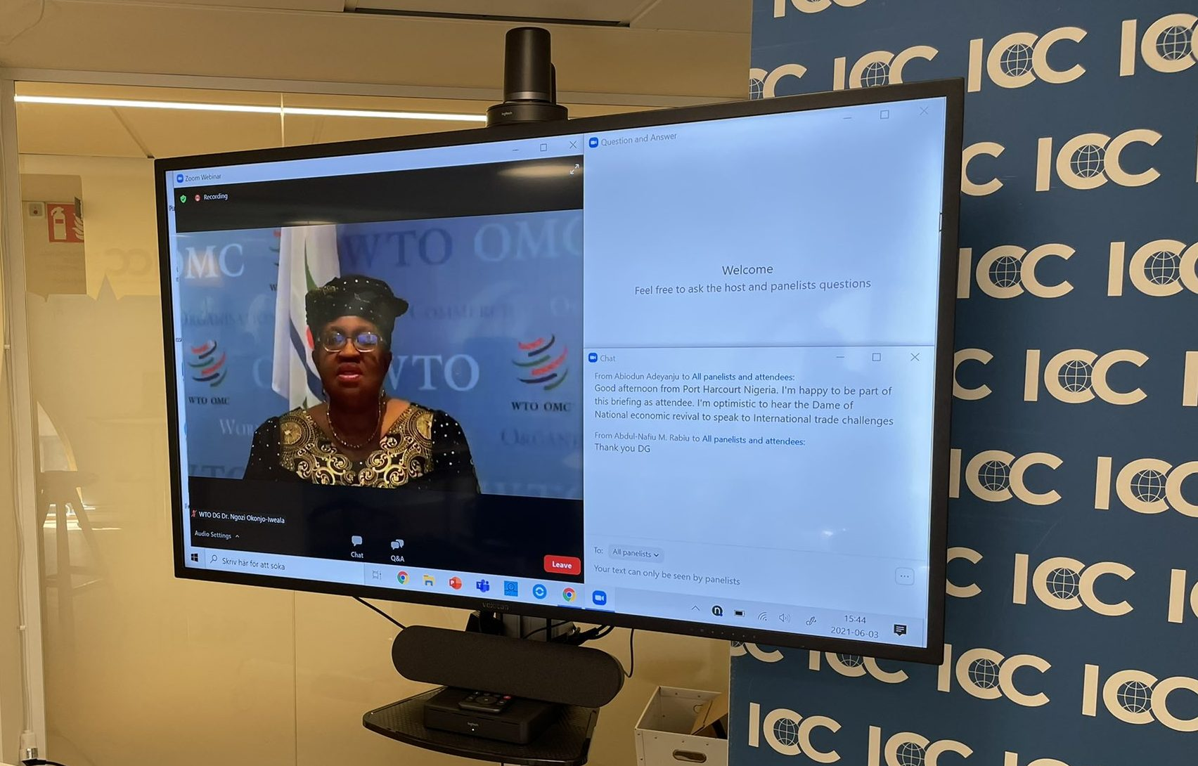 WTO Director-General on screen for first meeting with business - Members of International Chamber of Commerce
